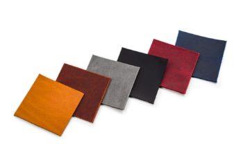 VZORNÍK BAREV - zleva: Světle hnědá (koňaková), tmavě hnědá, šedá, černá, červená, modrá
