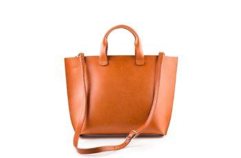 Velká kabelka z exkluzivní italské třísločiněné kůže v koňakové barvě