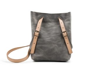 Kožený batoh šedý